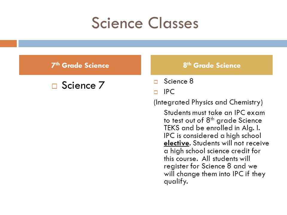 Science Classes  Science 7  Science 8  IPC (Integrated Physics and Chemistry) Students must take an IPC exam to test out of 8 th grade Science TEKS and be enrolled in Alg.