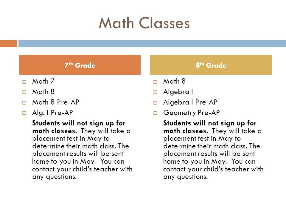 Math Classes  Math 7  Math 8  Math 8 Pre-AP  Alg.
