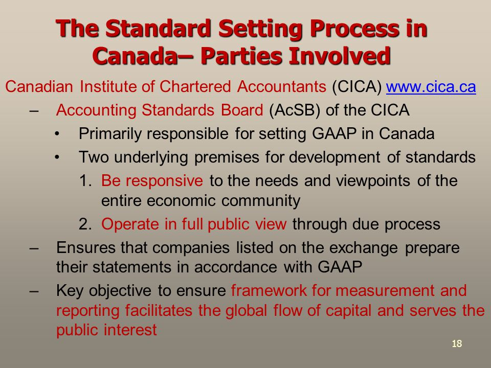 18 The Standard Setting Process in Canada– Parties Involved Canadian Institute of Chartered Accountants (CICA) www.cica.cawww.cica.ca –Accounting Stan