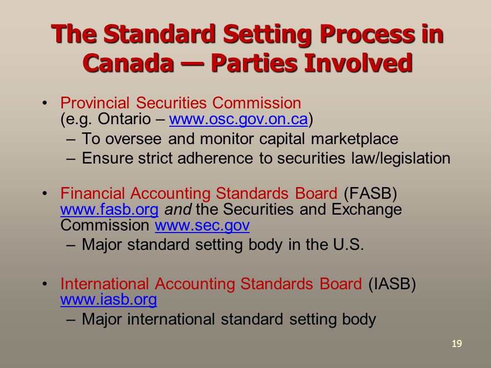 19 The Standard Setting Process in Canada — Parties Involved Provincial Securities Commission (e.g. Ontario – www.osc.gov.on.ca)www.osc.gov.on.ca –To