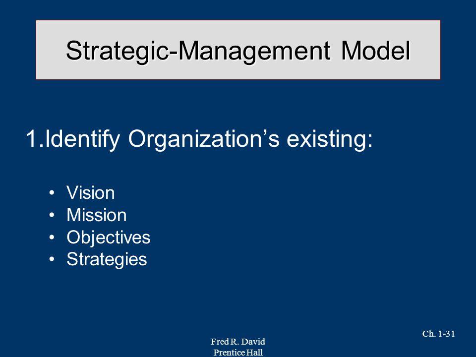 Fred R. David Prentice Hall Ch. 1-31 Strategic-Management Model 1.Identify Organization's existing: Vision Mission Objectives Strategies
