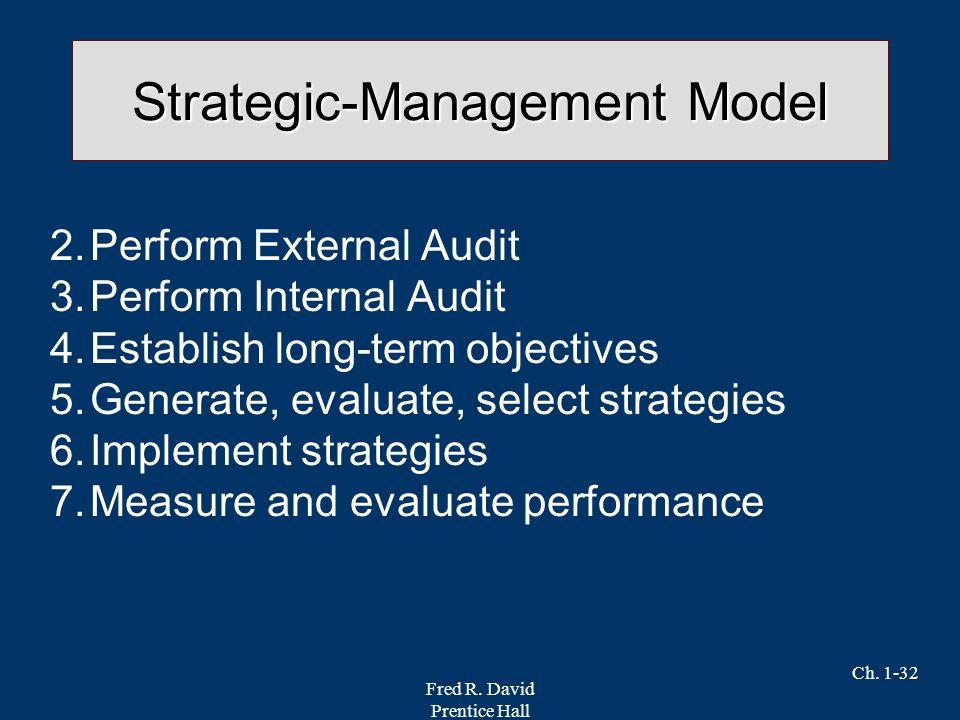 Fred R. David Prentice Hall Ch. 1-32 Strategic-Management Model 2.Perform External Audit 3.Perform Internal Audit 4.Establish long-term objectives 5.G
