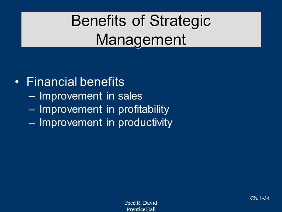 Fred R. David Prentice Hall Ch. 1-34 Benefits of Strategic Management Financial benefits –Improvement in sales –Improvement in profitability –Improvem