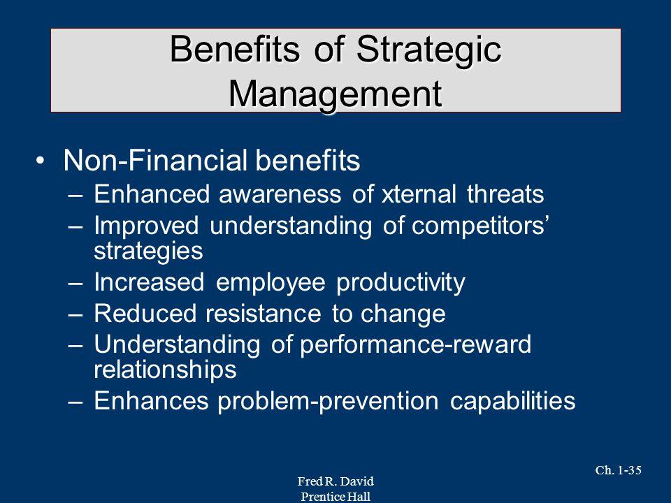 Fred R. David Prentice Hall Ch. 1-35 Benefits of Strategic Management Non-Financial benefits –Enhanced awareness of xternal threats –Improved understa