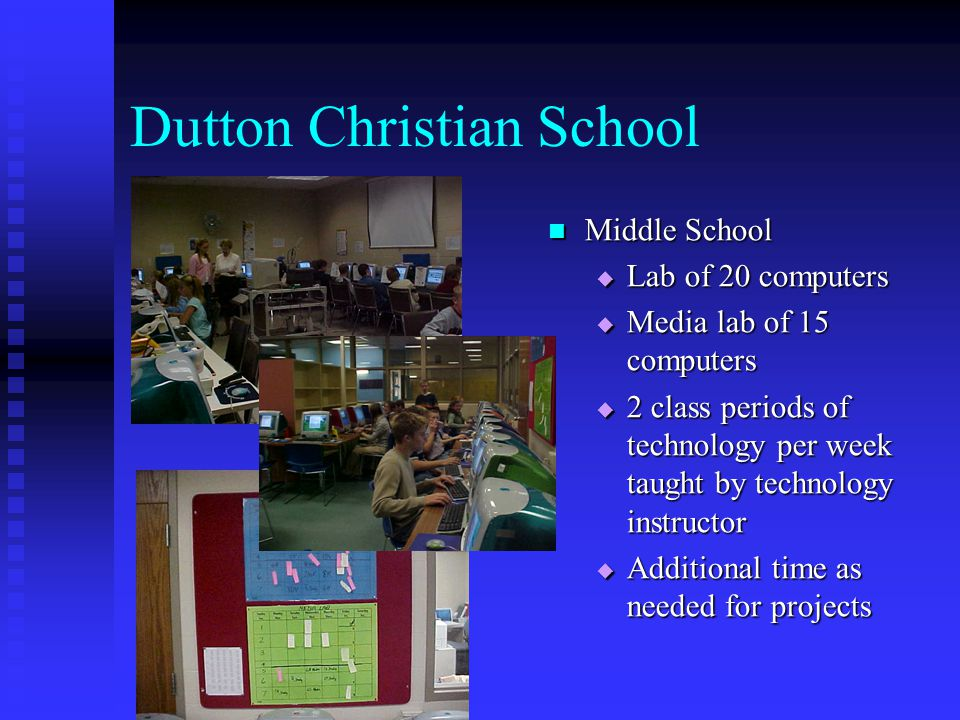 Dutton Christian School Elementary  Large lab of 26 computers  Media center with 4 computers  40 to 60 minutes of lab use per week taught by classroom teacher  Grades 3-5, additional time for keyboarding and Math facts