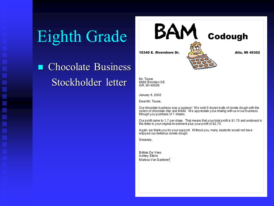 Eighth Grade Chocolate Business Stockholder Database Chocolate Business Stockholder Database