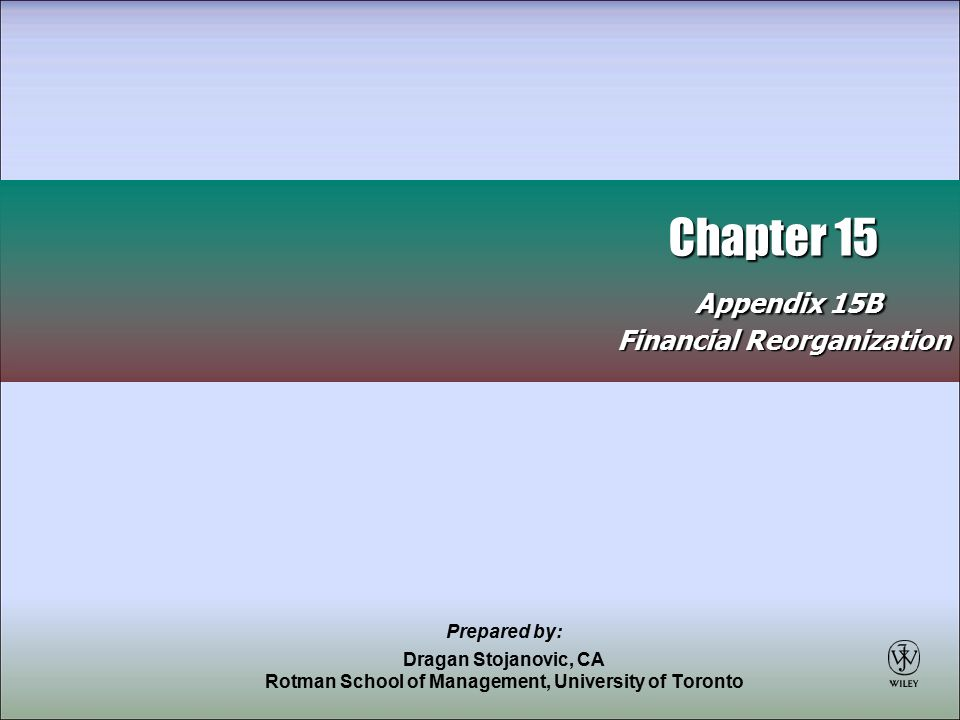 2 Financial Reorganization Process where a company that has undergone financial difficulties can reorganize its finances without having to recover a deficit Agreement is reached between debt and equity holders on process details Referred to as fresh start accounting