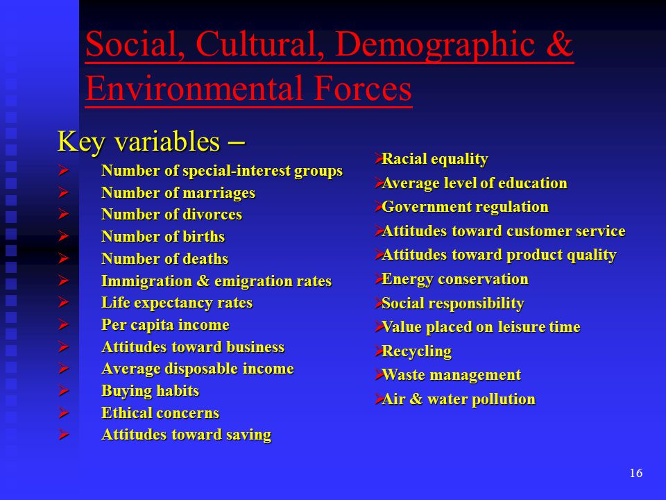 16 Social, Cultural, Demographic & Environmental Forces Key variables –  Number of special-interest groups  Number of marriages  Number of divorces  Number of births  Number of deaths  Immigration & emigration rates  Life expectancy rates  Per capita income  Attitudes toward business  Average disposable income  Buying habits  Ethical concerns  Attitudes toward saving  Racial equality  Average level of education  Government regulation  Attitudes toward customer service  Attitudes toward product quality  Energy conservation  Social responsibility  Value placed on leisure time  Recycling  Waste management  Air & water pollution