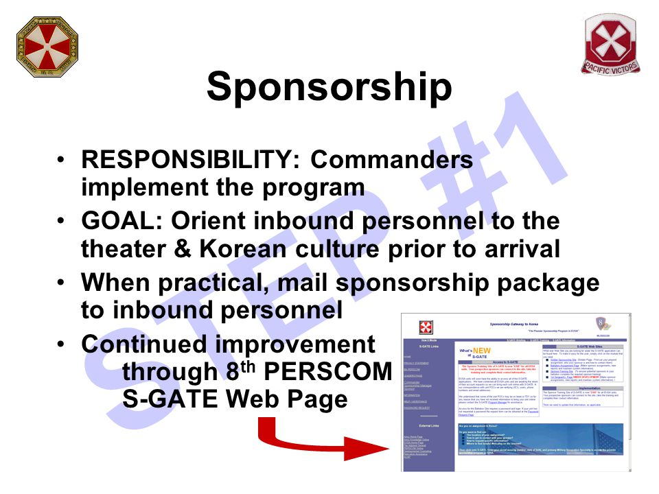 STEP #1 Sponsorship RESPONSIBILITY: Commanders implement the program GOAL: Orient inbound personnel to the theater & Korean culture prior to arrival W