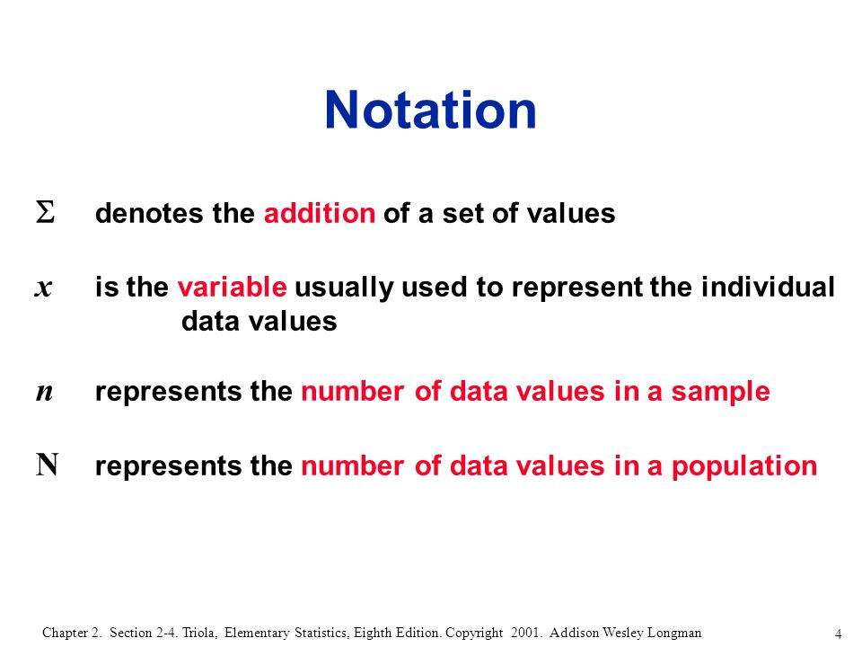 4 Chapter 2. Section 2-4. Triola, Elementary Statistics, Eighth Edition.