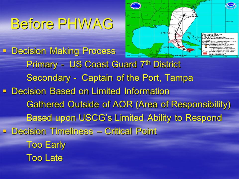 Before PHWAG  Decision Making Process Primary - US Coast Guard 7 th District Secondary - Captain of the Port, Tampa  Decision Based on Limited Infor