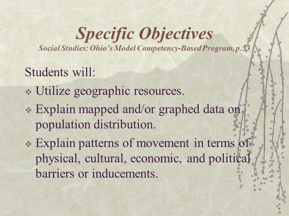 Specific Objectives Social Studies: Ohio's Model Competency-Based Program, p.53 Students will:  Utilize geographic resources.