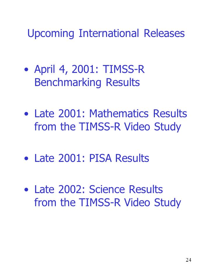 24 Upcoming International Releases April 4, 2001: TIMSS-R Benchmarking Results Late 2001: Mathematics Results from the TIMSS-R Video Study Late 2001: