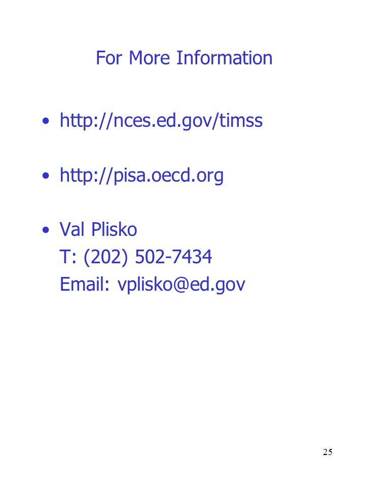25 For More Information http://nces.ed.gov/timss http://pisa.oecd.org Val Plisko T: (202) 502-7434 Email: vplisko@ed.gov