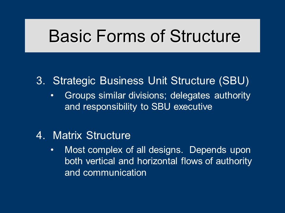 Basic Forms of Structure Basic Forms of Structure 3.Strategic Business Unit Structure (SBU) Groups similar divisions; delegates authority and responsibility to SBU executive 4.Matrix Structure Most complex of all designs.