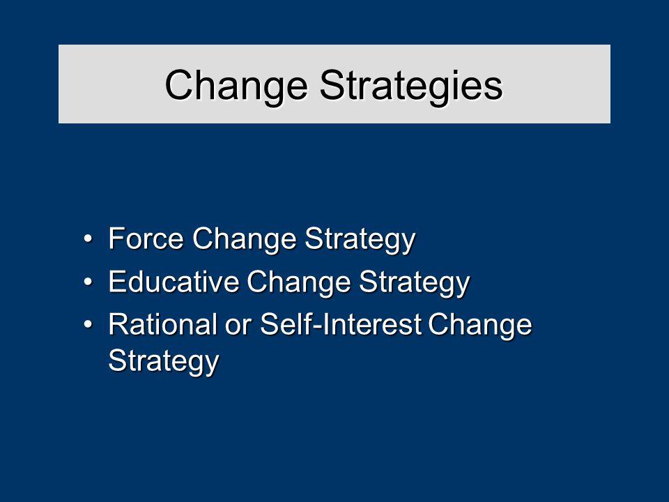 Change Strategies Force Change StrategyForce Change Strategy Educative Change StrategyEducative Change Strategy Rational or Self-Interest Change StrategyRational or Self-Interest Change Strategy