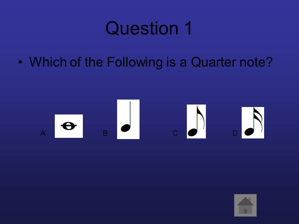 Question 1 Which of the Following is a Quarter note? ABCD