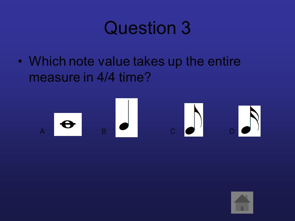 Question 3 Which note value takes up the entire measure in 4/4 time? ABCD