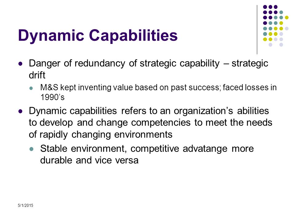 5/1/2015 Dynamic Capabilities Danger of redundancy of strategic capability – strategic drift M&S kept inventing value based on past success; faced losses in 1990's Dynamic capabilities refers to an organization's abilities to develop and change competencies to meet the needs of rapidly changing environments Stable environment, competitive advatange more durable and vice versa