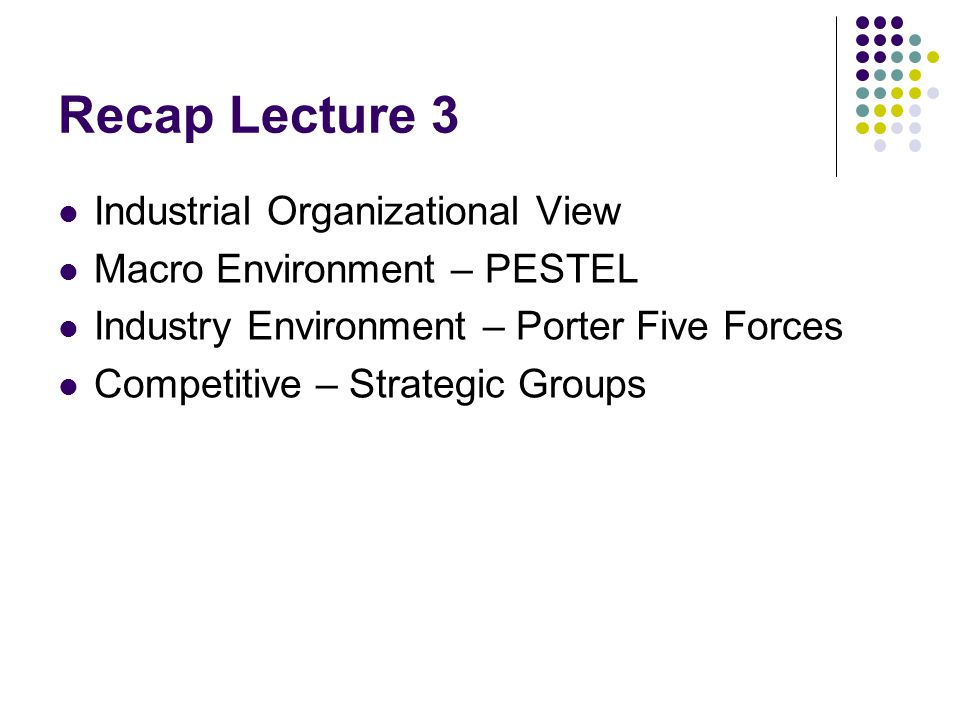 Recap Lecture 3 Industrial Organizational View Macro Environment – PESTEL Industry Environment – Porter Five Forces Competitive – Strategic Groups