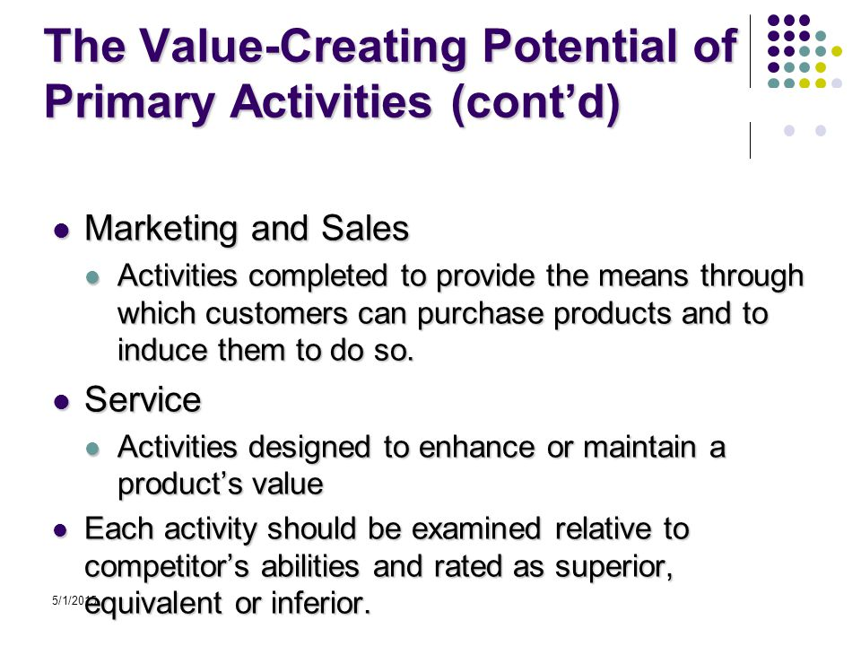 5/1/2015 The Value-Creating Potential of Primary Activities (cont'd) Marketing and Sales Marketing and Sales Activities completed to provide the means through which customers can purchase products and to induce them to do so.