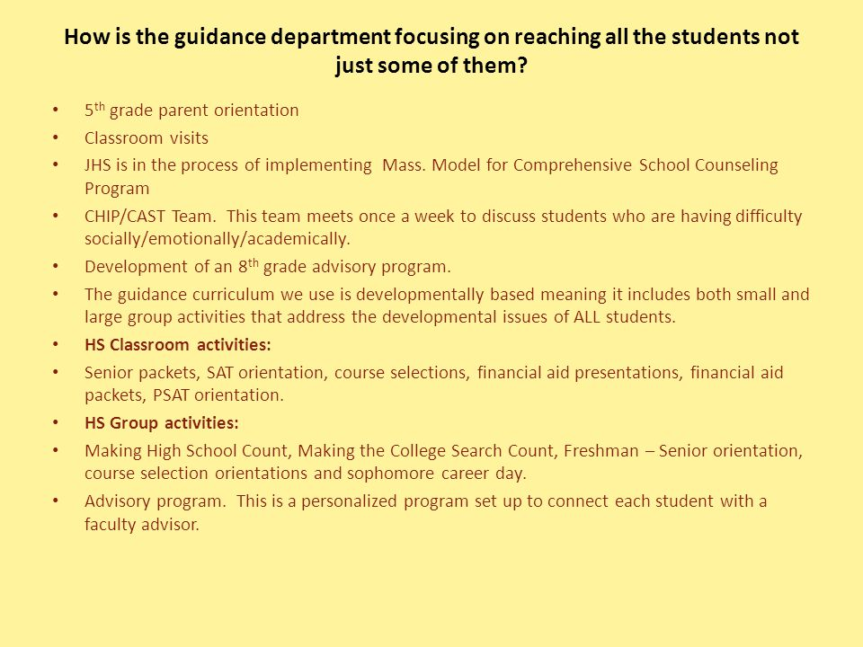 How is the guidance department focusing on reaching all the students not just some of them.