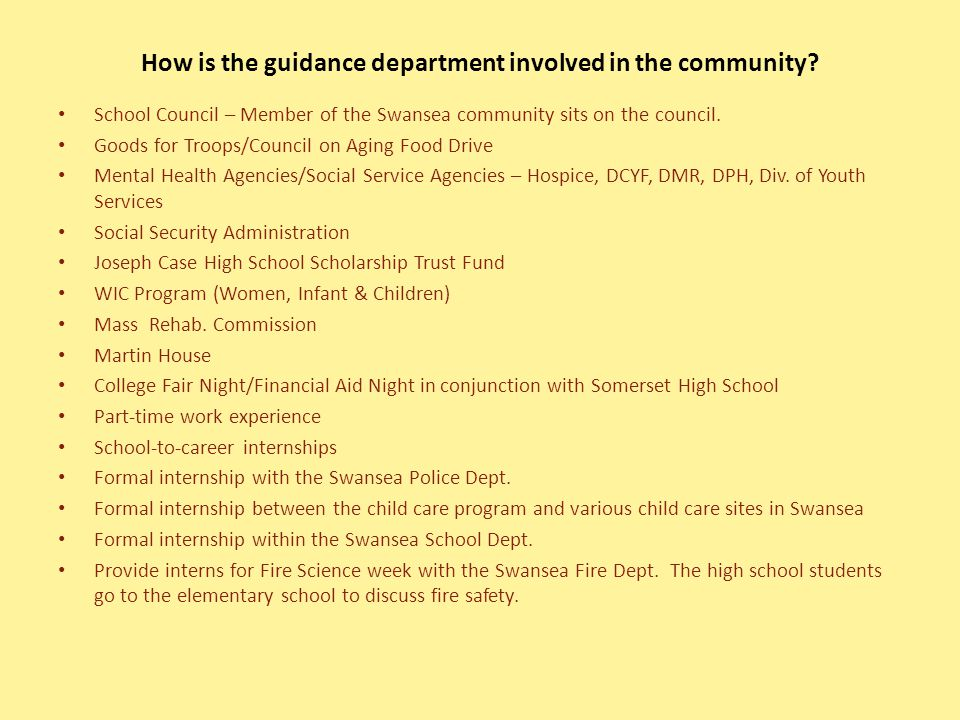 How is the guidance department involved in the community.