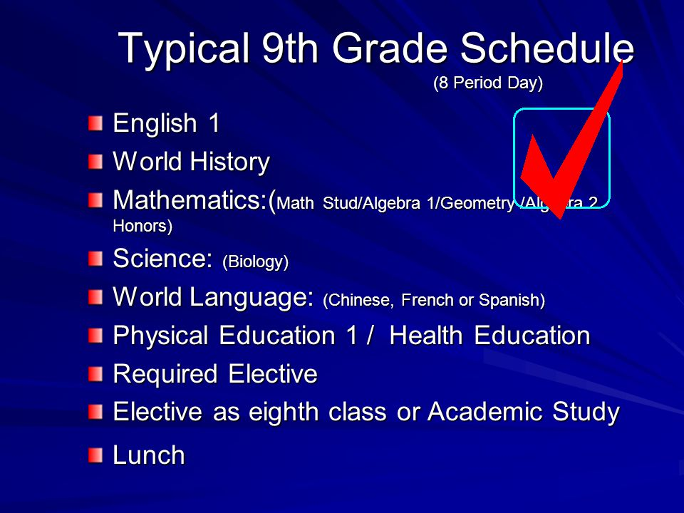 Typical 9th Grade Schedule (8 Period Day) English 1 World History Mathematics:( Math Stud/Algebra 1/Geometry /Algebra 2 Honors) Science: (Biology) World Language: (Chinese, French or Spanish) Physical Education 1 / Health Education Required Elective Elective as eighth class or Academic Study Lunch