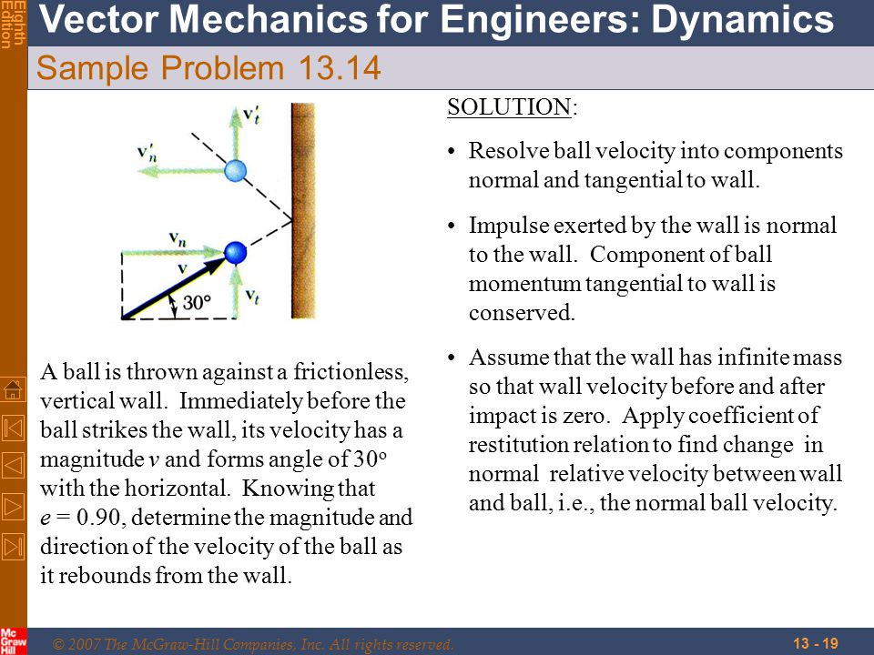 © 2007 The McGraw-Hill Companies, Inc. All rights reserved. Vector Mechanics for Engineers: Dynamics EighthEdition 13 - 19 Sample Problem 13.14 A ball