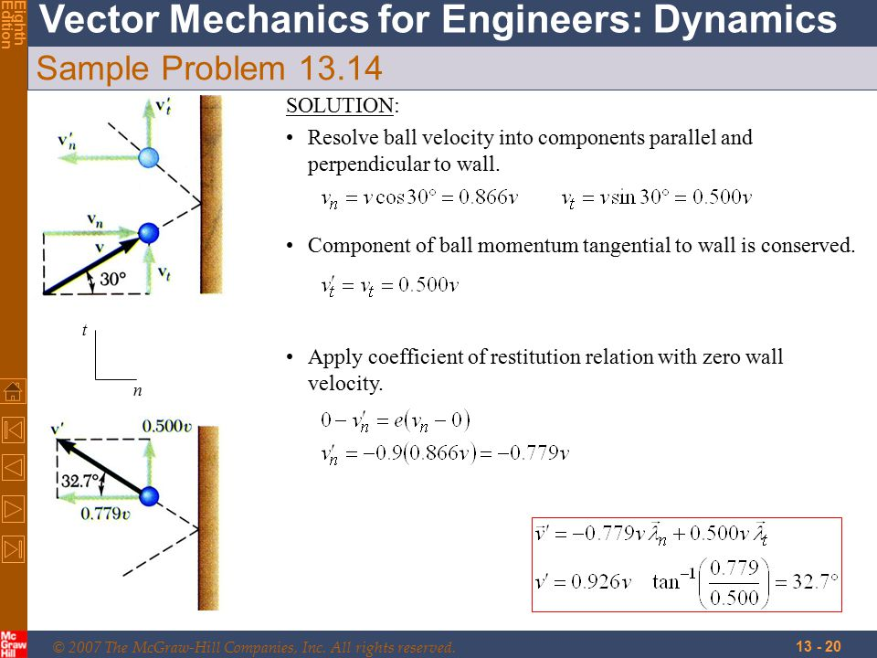 © 2007 The McGraw-Hill Companies, Inc. All rights reserved. Vector Mechanics for Engineers: Dynamics EighthEdition 13 - 20 Sample Problem 13.14 Compon
