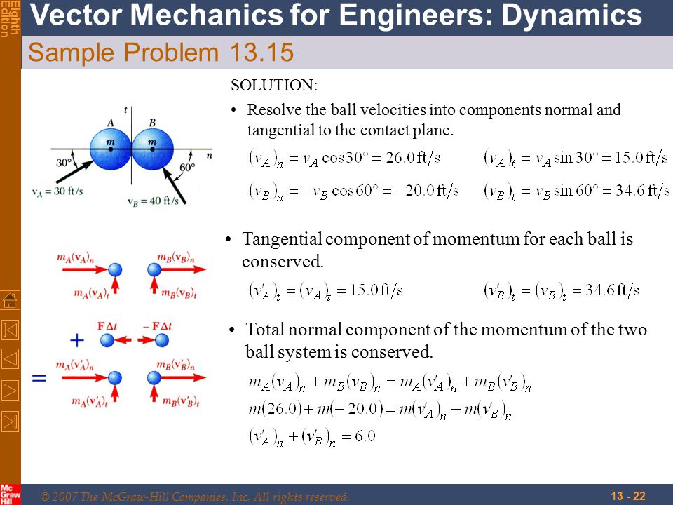 © 2007 The McGraw-Hill Companies, Inc. All rights reserved. Vector Mechanics for Engineers: Dynamics EighthEdition 13 - 22 Sample Problem 13.15 SOLUTI