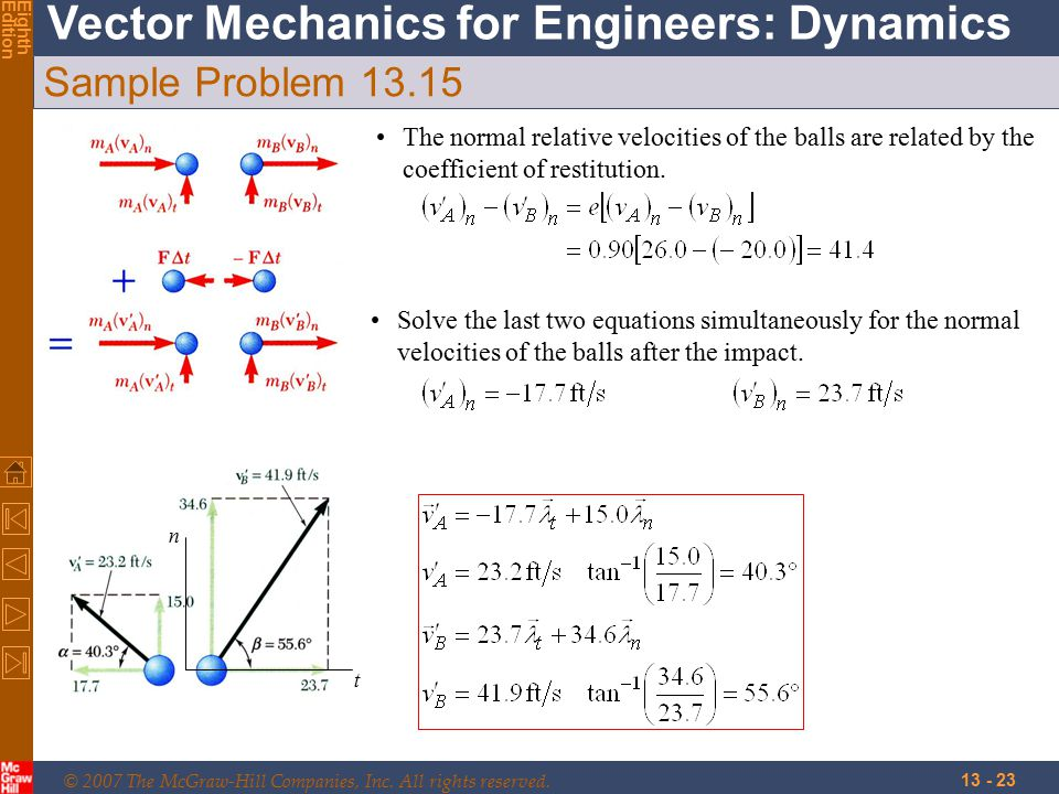 © 2007 The McGraw-Hill Companies, Inc. All rights reserved. Vector Mechanics for Engineers: Dynamics EighthEdition 13 - 23 Sample Problem 13.15 t n Th