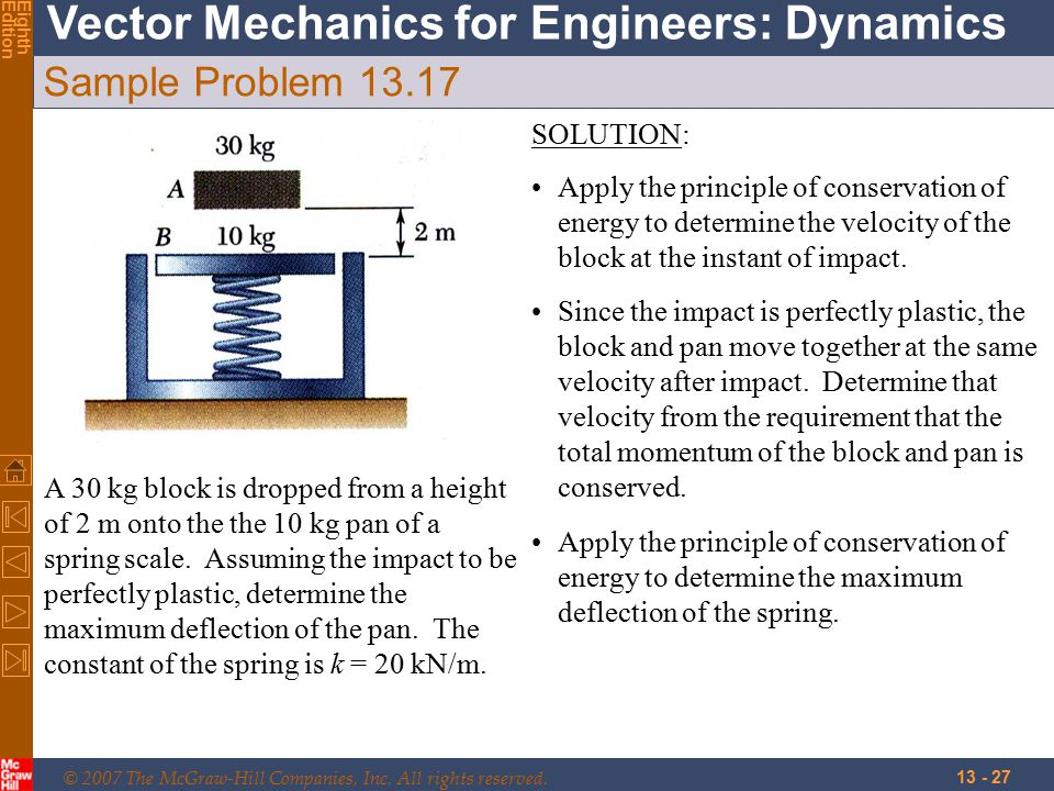 © 2007 The McGraw-Hill Companies, Inc. All rights reserved. Vector Mechanics for Engineers: Dynamics EighthEdition 13 - 27 Sample Problem 13.17 A 30 k