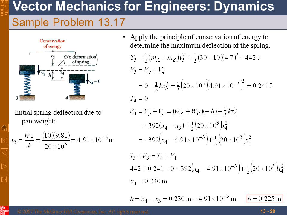 © 2007 The McGraw-Hill Companies, Inc. All rights reserved. Vector Mechanics for Engineers: Dynamics EighthEdition 13 - 29 Sample Problem 13.17 Initia