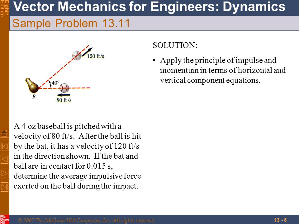 © 2007 The McGraw-Hill Companies, Inc. All rights reserved. Vector Mechanics for Engineers: Dynamics EighthEdition 13 - 6 Sample Problem 13.11 A 4 oz