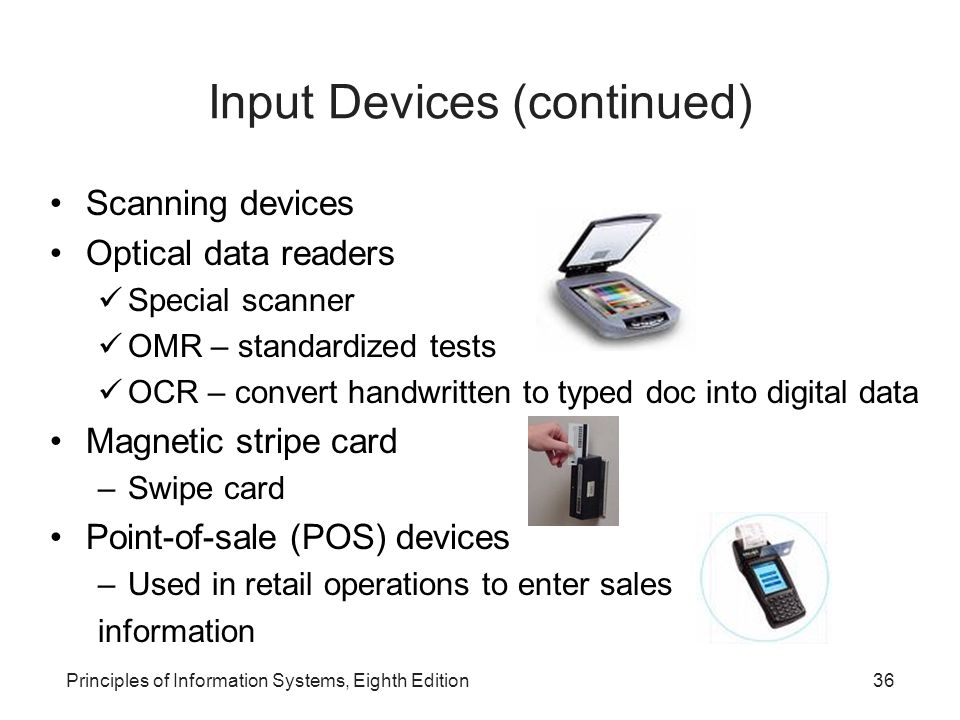 Magnetic ink character recognition (MICR) devices A system for reading banking data quickly Use special ink readable by people and computers e.g.