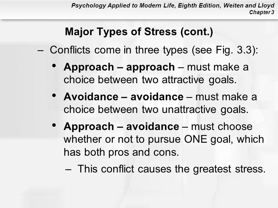 Psychology Applied to Modern Life, Eighth Edition, Weiten and Lloyd Chapter 3 –Conflicts come in three types (see Fig. 3.3): Approach – approach – mus