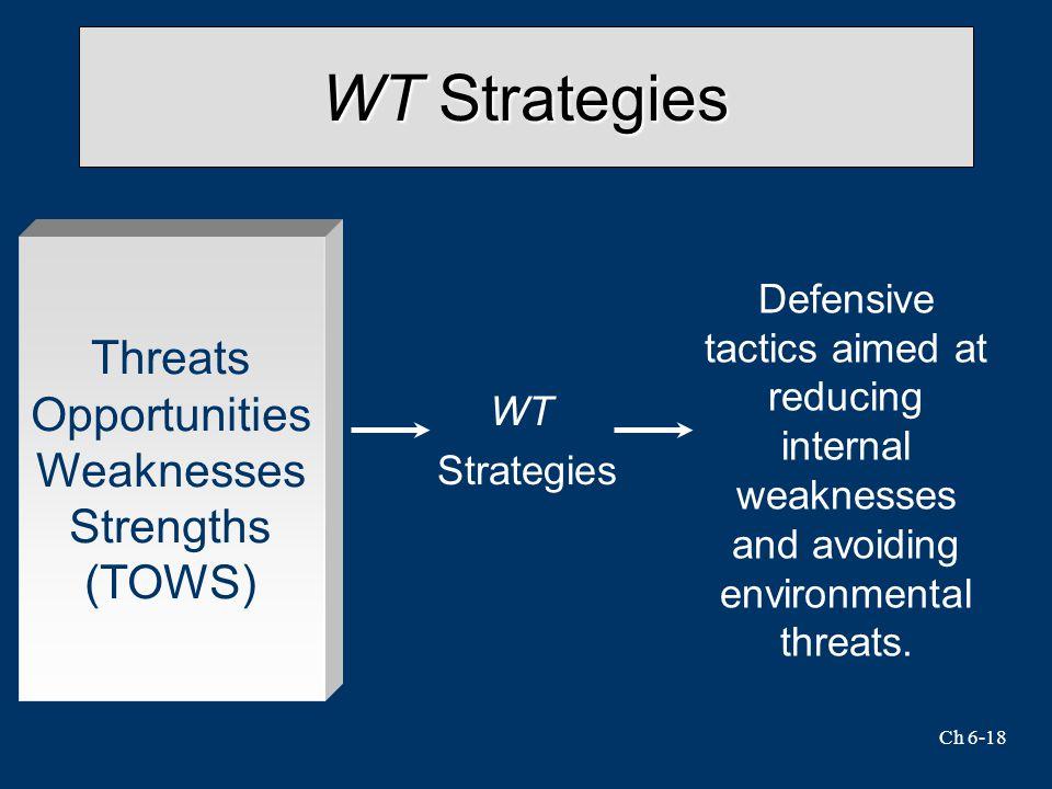 Ch 6-18 WT Strategies WT Strategies Defensive tactics aimed at reducing internal weaknesses and avoiding environmental threats.