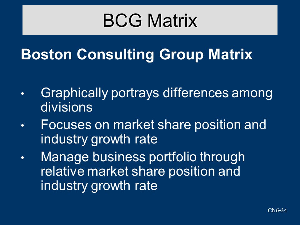 Ch 6-34 BCG Matrix Boston Consulting Group Matrix Graphically portrays differences among divisions Focuses on market share position and industry growth rate Manage business portfolio through relative market share position and industry growth rate