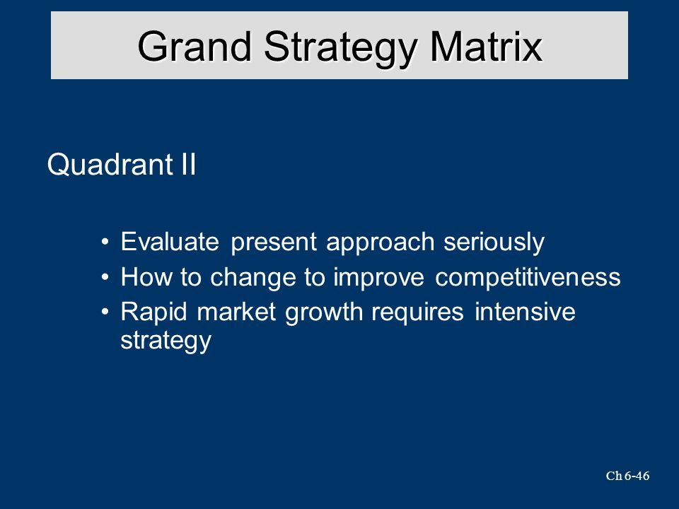 Ch 6-46 Grand Strategy Matrix Quadrant II Evaluate present approach seriously How to change to improve competitiveness Rapid market growth requires intensive strategy