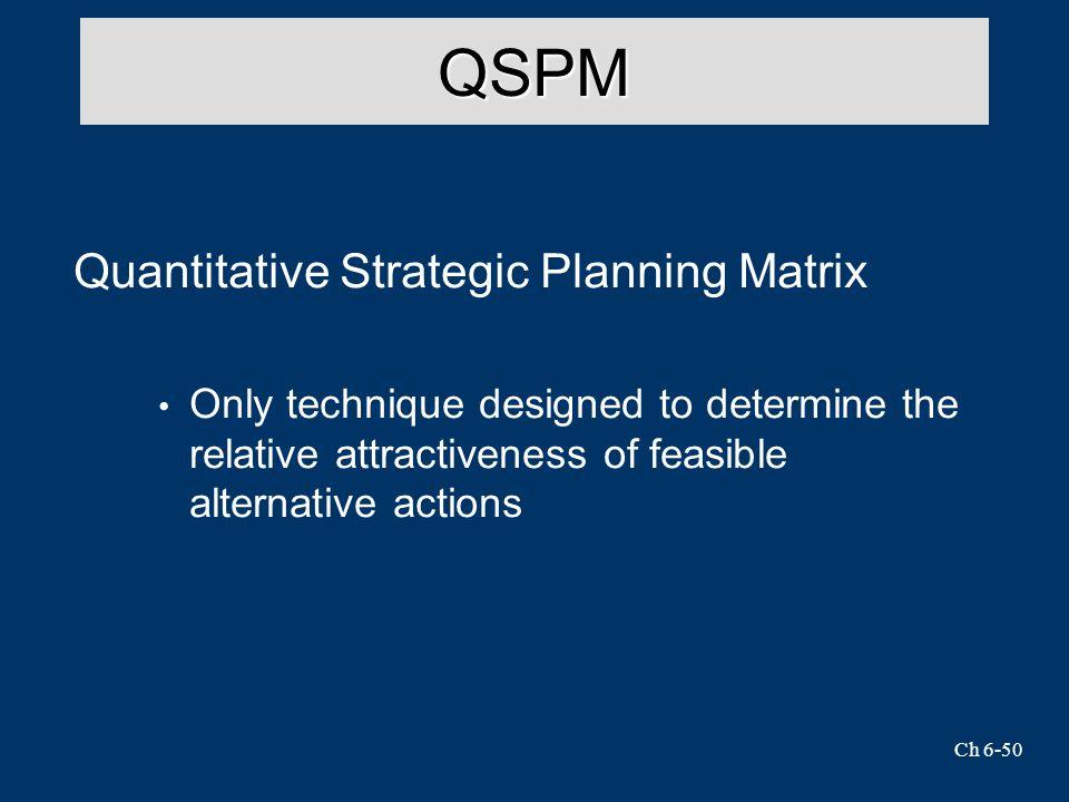 Ch 6-50 QSPM Quantitative Strategic Planning Matrix Only technique designed to determine the relative attractiveness of feasible alternative actions
