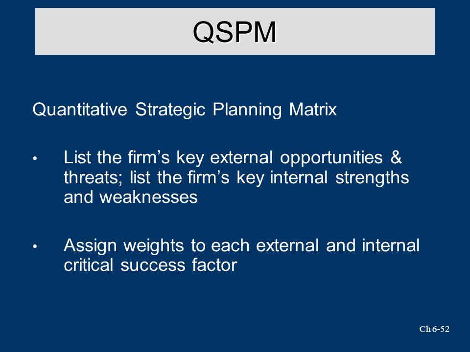 Ch 6-52 QSPM Quantitative Strategic Planning Matrix List the firm's key external opportunities & threats; list the firm's key internal strengths and weaknesses Assign weights to each external and internal critical success factor