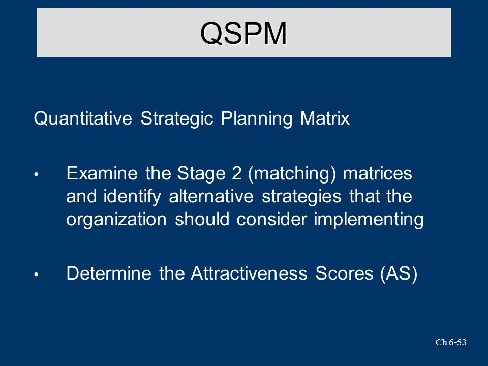 Ch 6-53 QSPM Quantitative Strategic Planning Matrix Examine the Stage 2 (matching) matrices and identify alternative strategies that the organization should consider implementing Determine the Attractiveness Scores (AS)