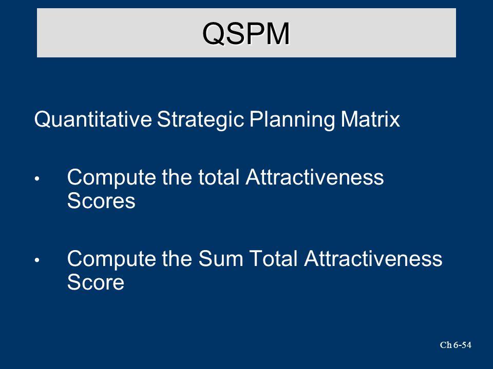 Ch 6-54 QSPM Quantitative Strategic Planning Matrix Compute the total Attractiveness Scores Compute the Sum Total Attractiveness Score