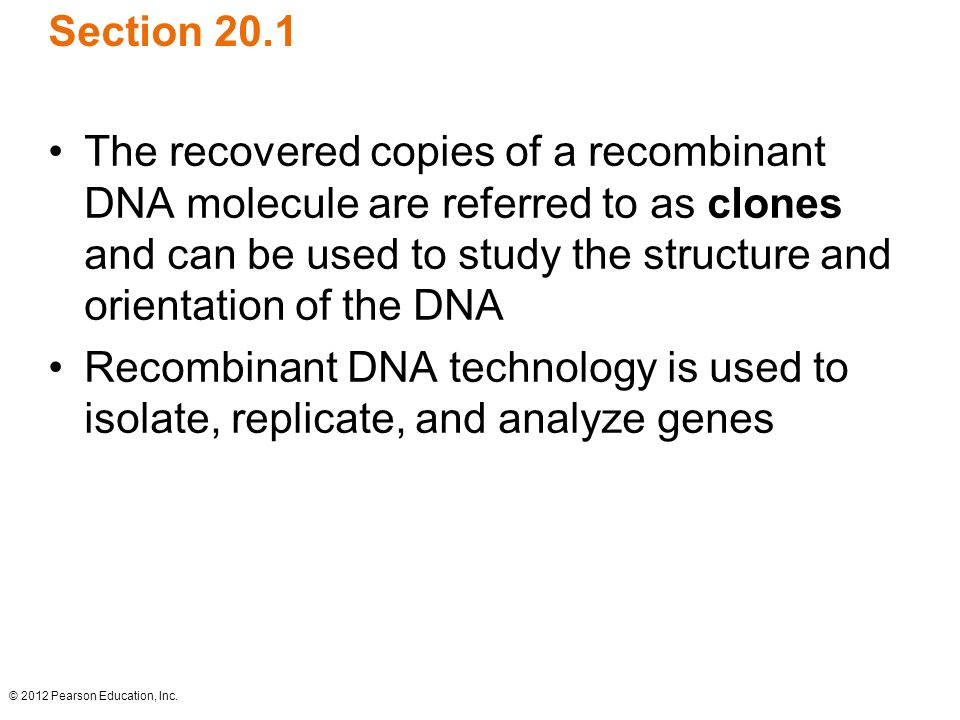 © 2012 Pearson Education, Inc. Section 20.1 The recovered copies of a recombinant DNA molecule are referred to as clones and can be used to study the