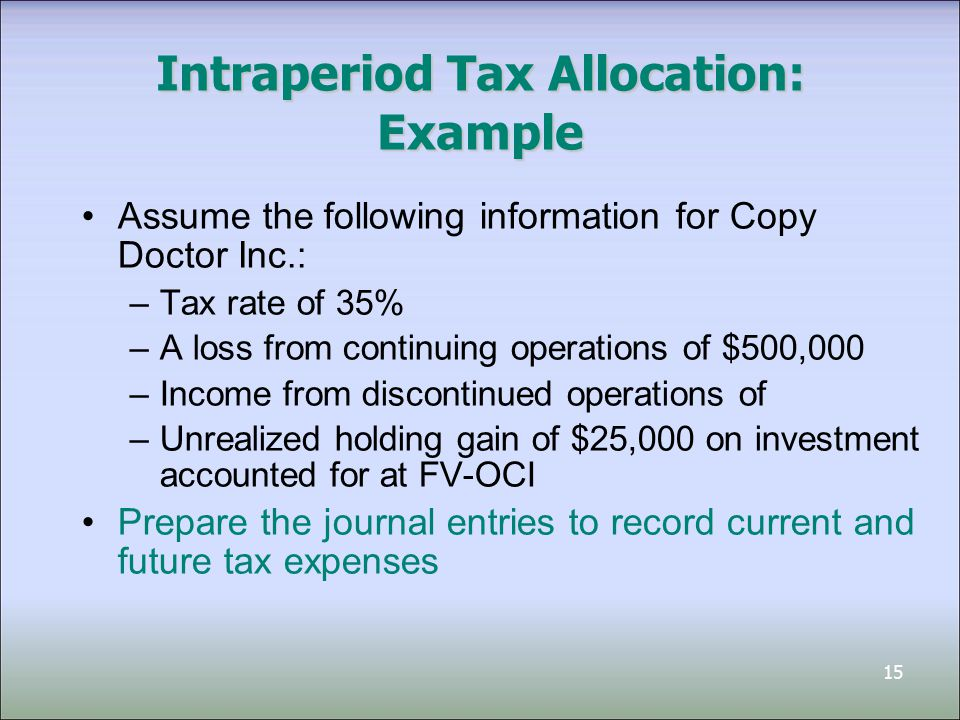 15 Intraperiod Tax Allocation: Example Assume the following information for Copy Doctor Inc.: –Tax rate of 35% –A loss from continuing operations of $500,000 –Income from discontinued operations of –Unrealized holding gain of $25,000 on investment accounted for at FV-OCI Prepare the journal entries to record current and future tax expenses