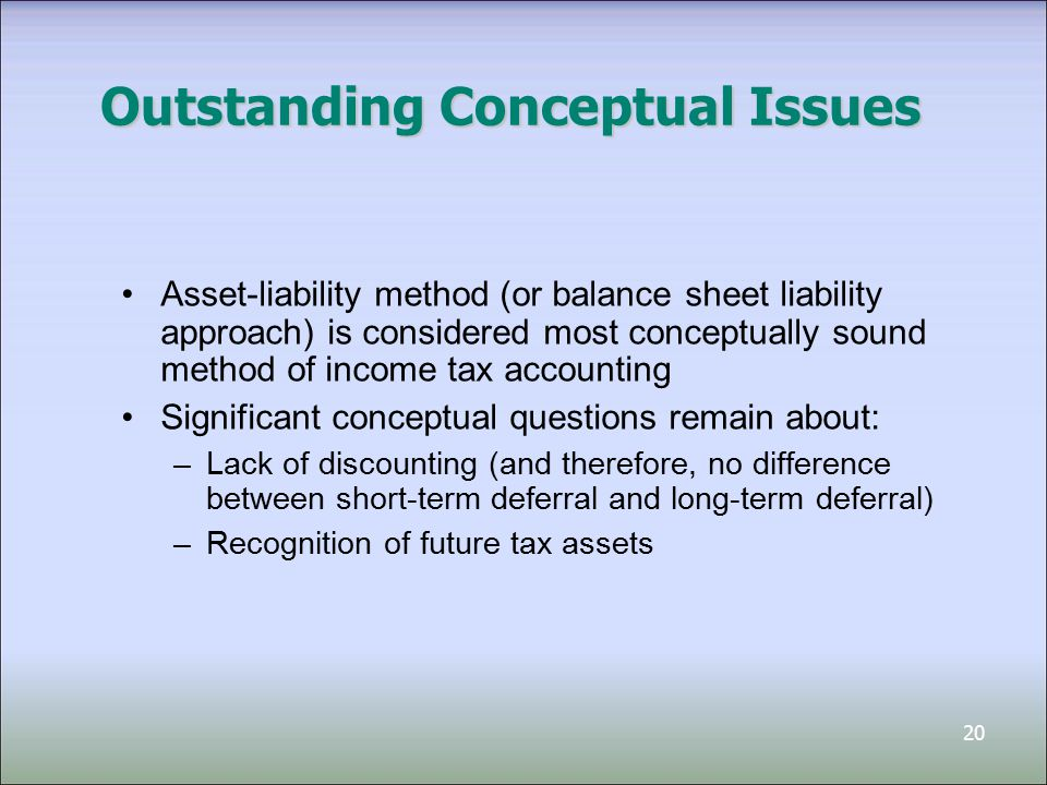 20 Outstanding Conceptual Issues Asset-liability method (or balance sheet liability approach) is considered most conceptually sound method of income tax accounting Significant conceptual questions remain about: –Lack of discounting (and therefore, no difference between short-term deferral and long-term deferral) –Recognition of future tax assets