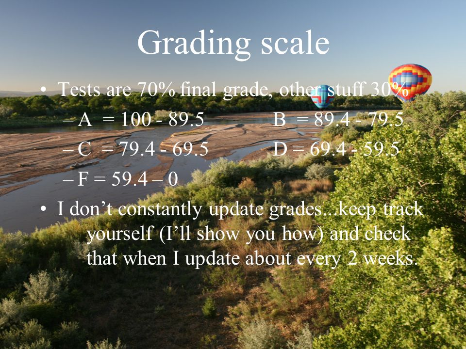 Grading scale Tests are 70% final grade, other stuff 30% –A = 100 - 89.5B = 89.4 - 79.5 –C = 79.4 - 69.5D = 69.4 - 59.5 –F = 59.4 – 0 I don't constantly update grades...keep track yourself (I'll show you how) and check that when I update about every 2 weeks.