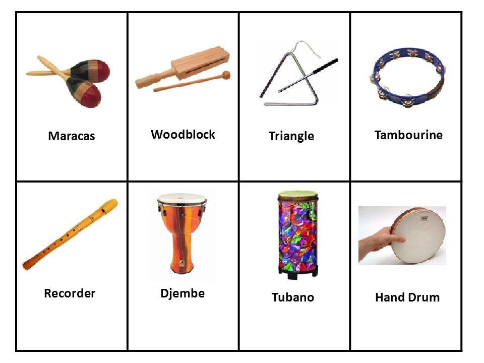 Maracas Woodblock Triangle Tambourine RecorderDjembe TubanoHand Drum
