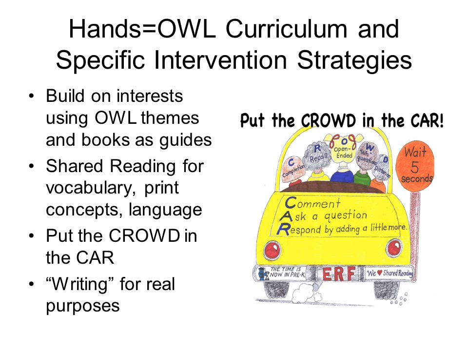 Hands=OWL Curriculum and Specific Intervention Strategies Build on interests using OWL themes and books as guides Shared Reading for vocabulary, print concepts, language Put the CROWD in the CAR Writing for real purposes